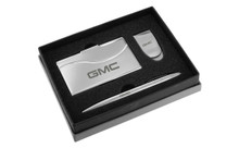 GMC Chrome Curve Line Money Clip, Business Card Case, And Ball Pen Gift Set In Deluxe Box (GMGBMPCC-LG)