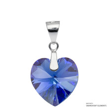 Sapphire Ab Xilion Heart Pendant Embellished With Swarovski Crystals (PE3R-206AB)