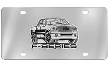 Ford F-Series Chrome Plated Solid Brass Emblem Attached To A Stainless Steel Plate