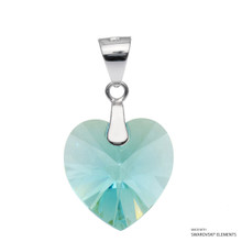 Light Turquoise Xilion Heart Pendant Embellished With Swarovski Crystals