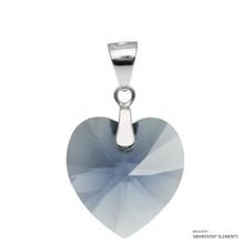 Denim Blue Xilion Heart Pendant Embellished With Swarovski Crystals (PE3R-266)