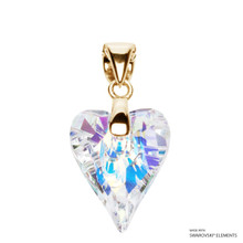 Crystal Aurore Boreale Wild Heart Pendant Embellished With Swarovski Crystals (PE4G-001AB)