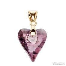 Antique Pink Wild Heart Pendant Embellished With Swarovski Crystals (PE4G-001ANTP)