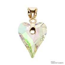 Crystal Luminous Green F Wild Heart Pendant Embellished With Swarovski Crystals (PE4G-001LUMG)
