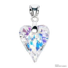 Crystal Aurore Boreale Wild Heart Pendant Embellished With Swarovski Crystals (PE4R-001AB)