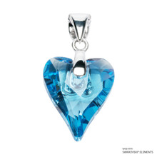 Aquamarine Wild Heart Pendant Embellished With Swarovski Crystals (PE4R-202)