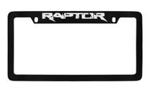 Ford Raptor Top Engraved Black Coated Zinc License Plate Frame Holder With Silver Imprint
