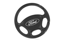 Ford Plain Black Steering Wheel Keychain In A Black Gift Box
