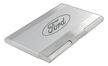 Stainless Steel Business Card Case With Brushed Finish And Matte Nickel Color Center In Deluxe Box