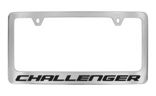 Dodge Challenger Chrome Plated Solid Brass License Plate Frame Holder With Black Imprint