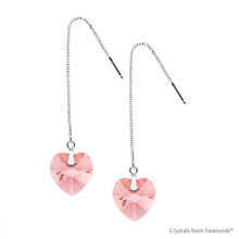 Adjustable Rose Peach Xilion Heart Earrings Embellished With Swarovski Crystals