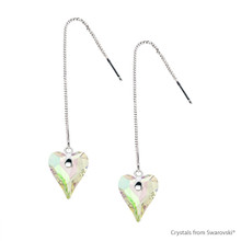Adjustable Crystal Luminous Green F Wild Heart Earrings Embellished With Swarovski Crystals