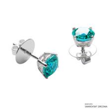 1 Carat Mint Round Stud Earring Made With Swarovski Zirconia