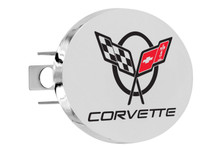"Chevy Corvette C5 Design Oval Trailer Hitch Cover Plug With 1.25"" Stainless Steel Post"