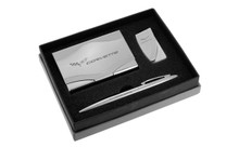Chevy Corvette Chrome Curve Line Money Clip, Business Card Case, And Ball Pen Gift Set In Deluxe Box (CHGBMPC-C6)