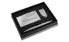 Chevy Corvette Chrome Curve Line Money Clip, Business Card Case, And Ball Pen Gift Set In Deluxe Box (CHGBMPCC-C6)