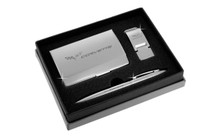 Chevy Corvette Satin Money Clip, Card Case, And Ball Pen Gift Set In Deluxe Box