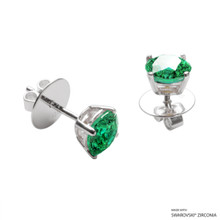 1 Carat Fancy Green Round Stud Earring Made With Swarovski Zirconia