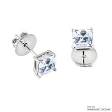 1 Carat White Princess Stud Earring Made With Swarovski Zirconia