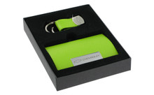 Chevrolet Green Business Card Holder And Purple And Green Keychain Set