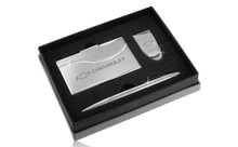 Chevrolet Chrome Curve Line Money Clip, Business Card Case, And Ball Pen Gift Set In Deluxe Box (FOGBMPCC-E)