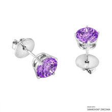 2 Carat Fancy Purple Round Stud Earring Made With Swarovski Zirconia