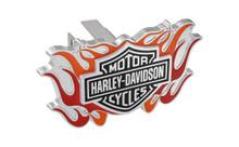 Harley-Davidson® Mini 1.25' Post Hitch Cover 3D Bar & Shield Logo With 2 Color Flames Emblem