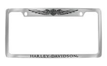 Harley-Davidson® 2 Top Holes Frame Engraved Bar & Shield With Wings On Top Harley-Davidson® On Bottom Chrome Brass Frame Black Epoxy Filled