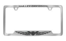 Harley-Davidson® License Plate Frame Engraved Harley Davidson On Top Bar & Shield With Wings On Bottom Chrome Brass Frame Black Epoxy Filled