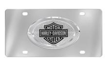 Harley-Davidson® Front Stainless Steel Plate Attached Bar & Shield Oval Emblem With Texture Back Ground & 4 Rivets Around