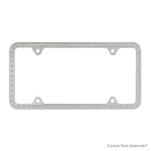 Premium Chrome Plated Zinc License Plate Frame Holder Embellished With Swarovski Crystals (LFZCY301-4H)