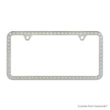 Premium Chrome Plated Zinc License Plate Frame Holder Embellished With Swarovski Crystals (LFZCY301-AB-2H)
