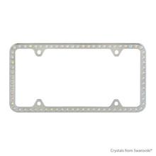 Premium Chrome Plated Zinc License Plate Frame Holder Embellished With Swarovski Crystals (LFZCY301-AB-4H)