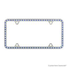Premium Chrome Plated Zinc License Plate Frame Holder Embellished With Swarovski Crystals (LFZCY301-B-4H)