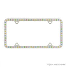 Premium Chrome Plated Zinc License Plate Frame Holder Embellished With Swarovski Crystals (LFZCY301-M-4H)