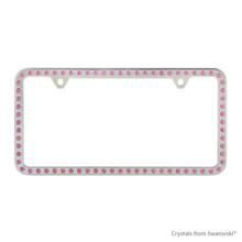 Premium Chrome Plated Zinc License Plate Frame Holder Embellished With Swarovski Crystals (LFZCY301-P-2H)