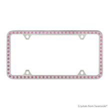 Premium Chrome Plated Zinc License Plate Frame Holder Embellished With Swarovski Crystals (LFZCY301-P-4H)