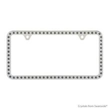Premium Chrome Plated Zinc License Plate Frame Holder Embellished With Swarovski Crystals (LFZCY301-SB-2H)