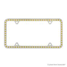 Premium Chrome Plated Zinc License Plate Frame Holder Embellished With Swarovski Crystals (LFZCY301-Y-4H)