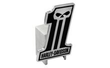 Harley-Davidson® Hitch Cover #1 Shape Harley-Davidson® Black 3D Skull Emblem Plus Hitch Ball Post Components (HDHCB216)
