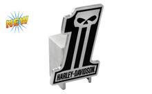 Harley-Davidson® Hitch Cover #1 Shape Harley-Davidson® Black 3D Skull Emblem Plus Hitch Ball Post Components (HDHCBE216)