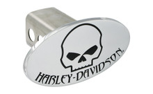 "Harley-Davidson® 1.25"" Mini Post Hitch Cover With Chrome Oval Emblem Engraved Skull & Harley-Davidson®"