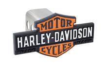 Harley-Davidson® Black Trailer Hitch Cover Plug Featuring Orange & Black Vintage Bar & Sheild