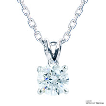 1 Carat White Solitaire Necklace Made With Swarovski Zirconia