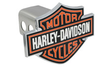 "Harley-Davidson® Hitch Cover Set Bar & Shield Color Filled 1.25"" Stainless Steel Hitch Post Red On 'Motor Cycle' & Borders, White On 'Harley Davidson',Black As Back Ground"