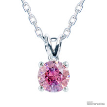 1 Carat Fancy Pink Solitaire Necklace Made With Swarovski Zirconia