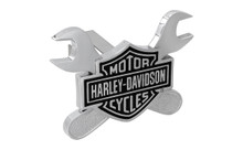 """Harley-Davidson® Mini 1.25"""" Hitch Cover 3D Black Bar & Shield Emblem With Dual Cross Wrenches"""