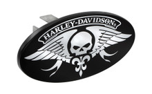 "Harley-Davidson® Mini 1.25"" Post Hitch Cover With Harley-Davidson® Willie G. Skull Wings Chrome Imprints On A Black Powder Coated Oval Emblem"