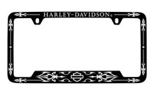 Harley-Davidson® Black Frame Chrome Imprints Harley-Davidson® Wordmark Top Bar & Shield Bottom Chrome Imprint On A Black Powder Coated Frame