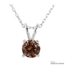 1 Carat Fancy Brown Round Necklace Made With Swarovski Zirconia